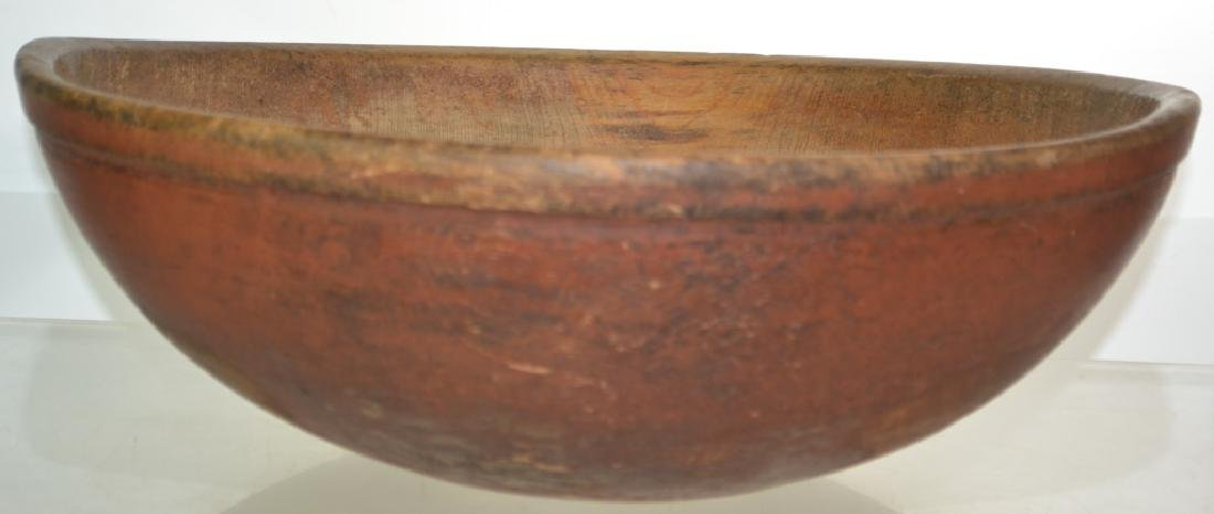 Red Painted Large Treen Batter Bowl - 2