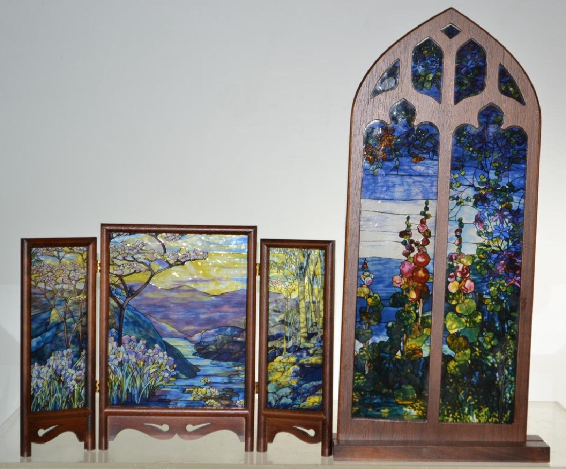 Two Miniature Stained Glass Items