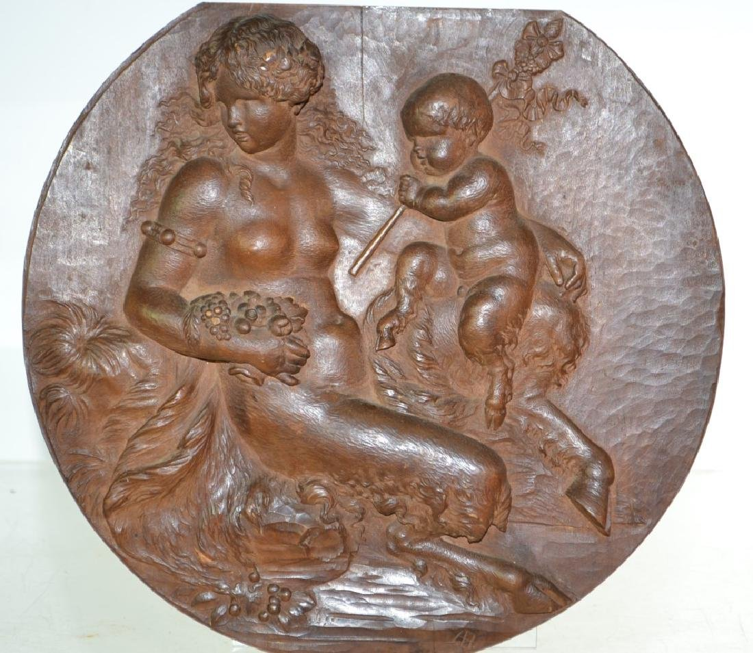 Hand Carved Hanging Plaque of Pan and Mother