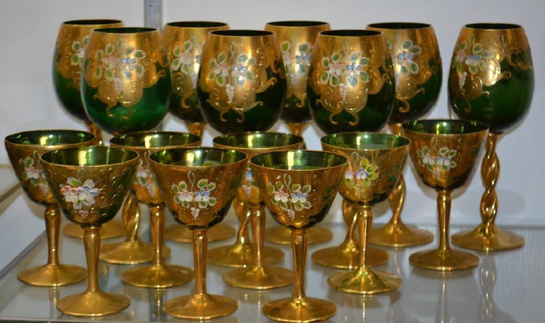 Vintage Green Enameled Wine Goblets