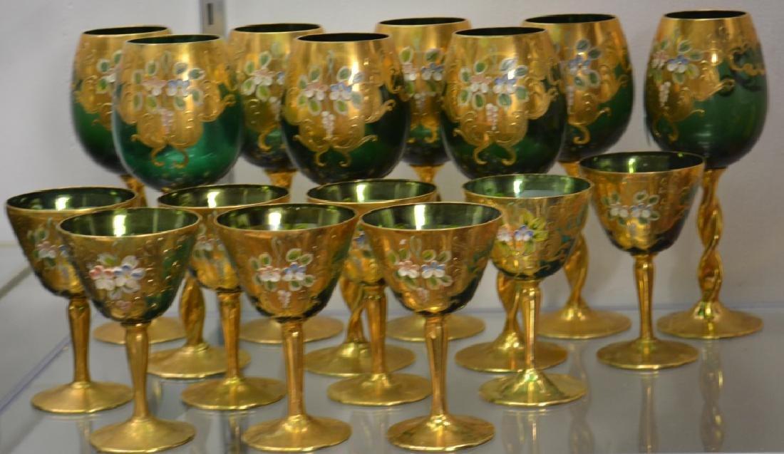 Vintage Green Enameled Wine Goblets - 2