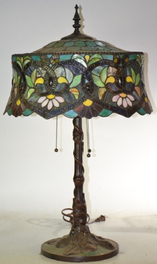 Table Lamp with Stained Glass Shade