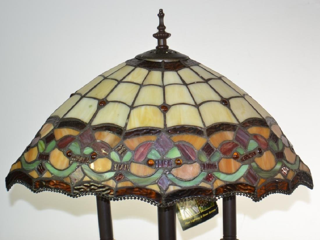 Dale Tiffany Lamp with Stained Glass Shade - 2