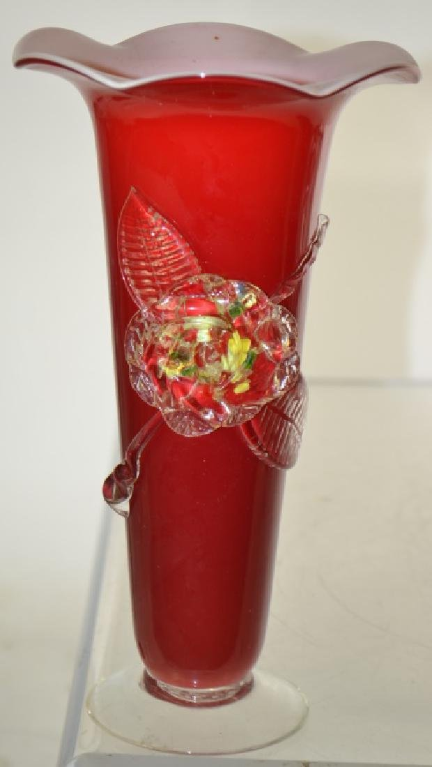 Red Art Glass Vase Grouping - 3