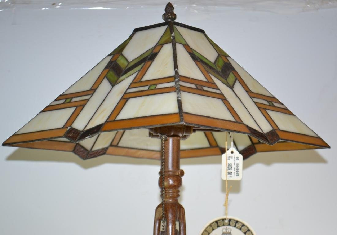 Quoizel Lamp with Stained Glass Shade - 2