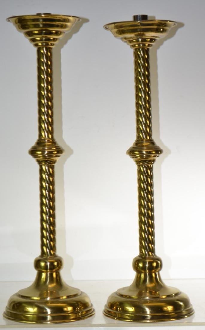 Pair of Large Brass Candlesticks