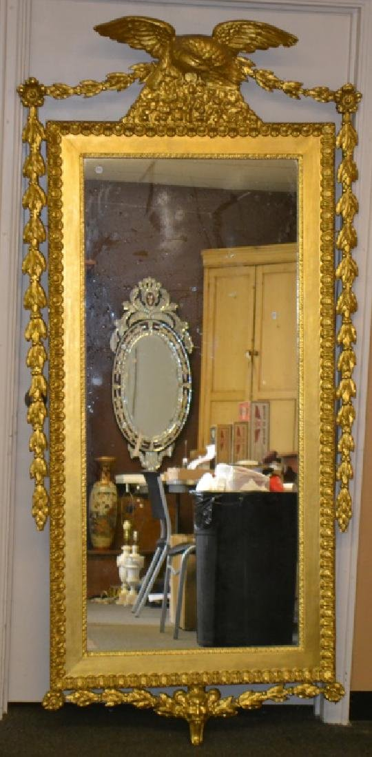 Massive Gilded Mirror with Eagle Finial