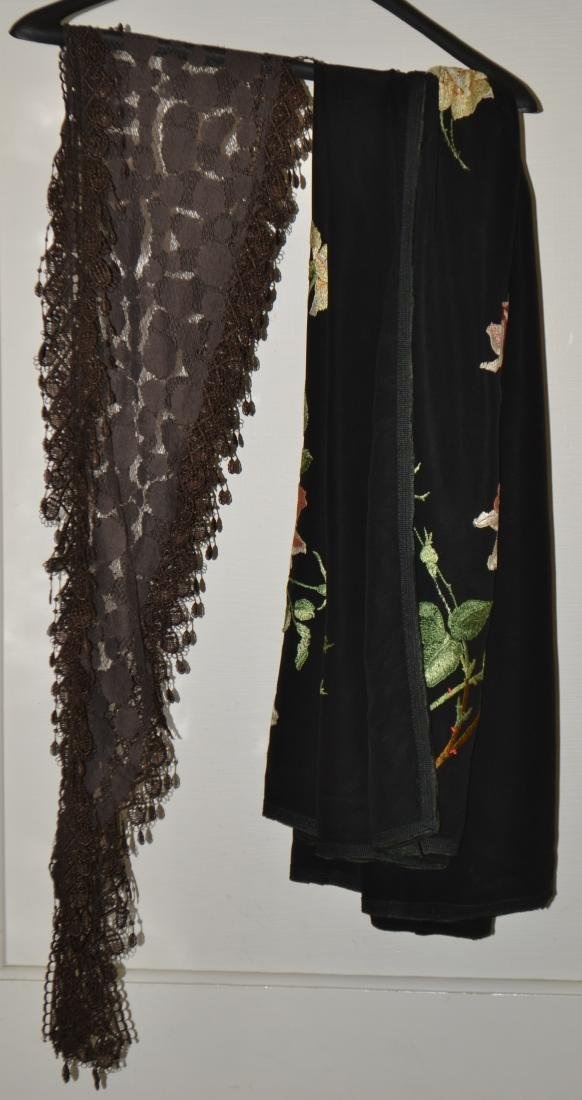 Floral Silk Shawl and a Victorian Scarf - 2