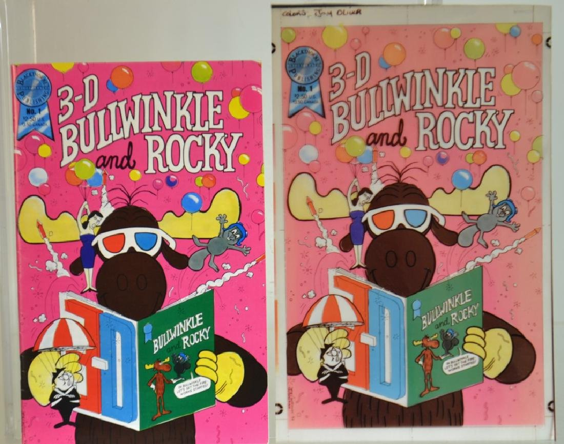 Three D Bullwinkle and Rocky Book and Card