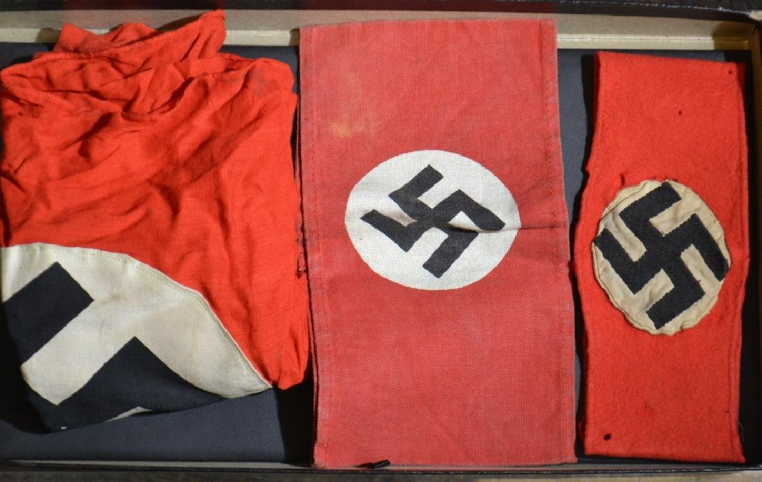 German WW II Arm Bands and Flag