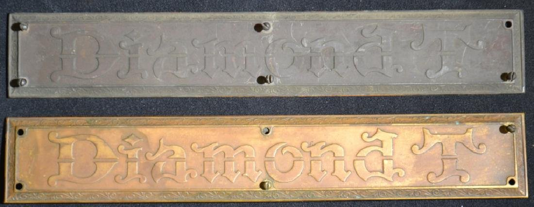 """Two Brass """"Diamond T"""" Name Plates"""