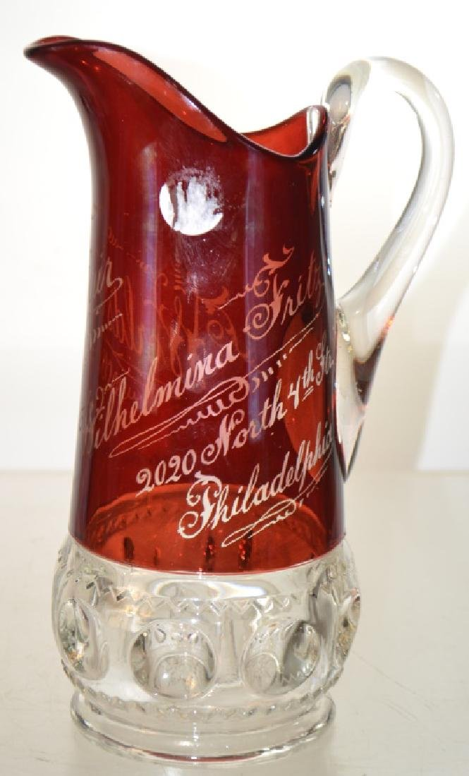 Flashed Ruby Pitcher World's Fair 1893