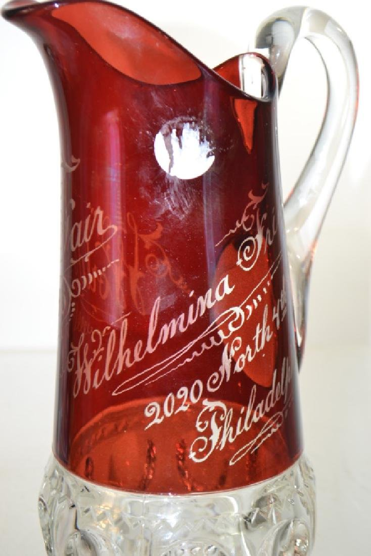 Flashed Ruby Pitcher World's Fair 1893 - 4