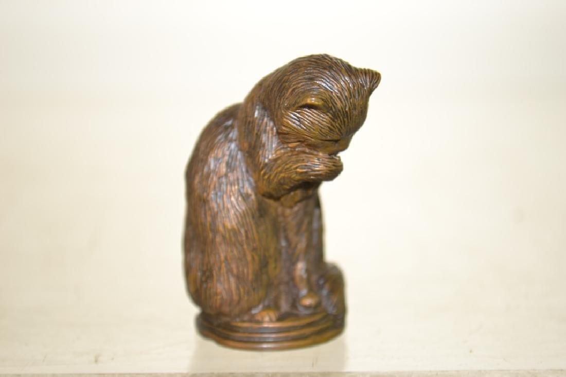 Miniature Bronze of a Cat - 3