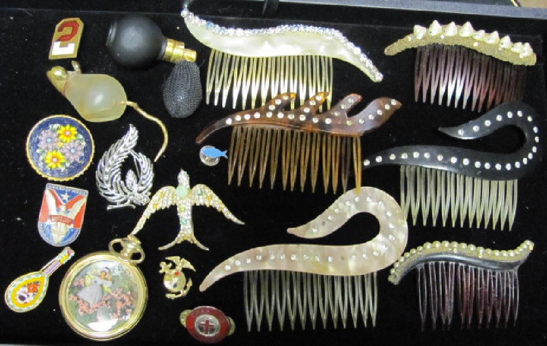 Celluloid Combs and Costume Jewelry