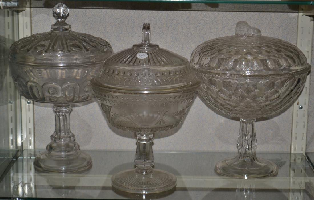Three Covered Victorian Compotes