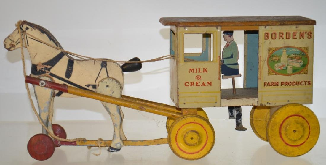 "Vintage ""Borden's"" Horse Drawn Pull Toy"