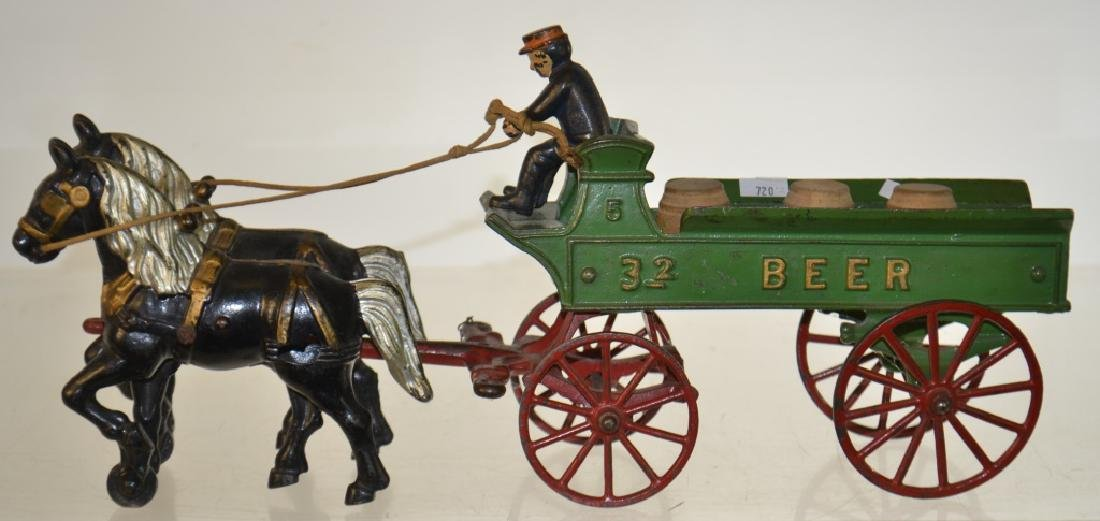 """Kenton"" Toy Horse Drawn Beer Wagon circa1930"