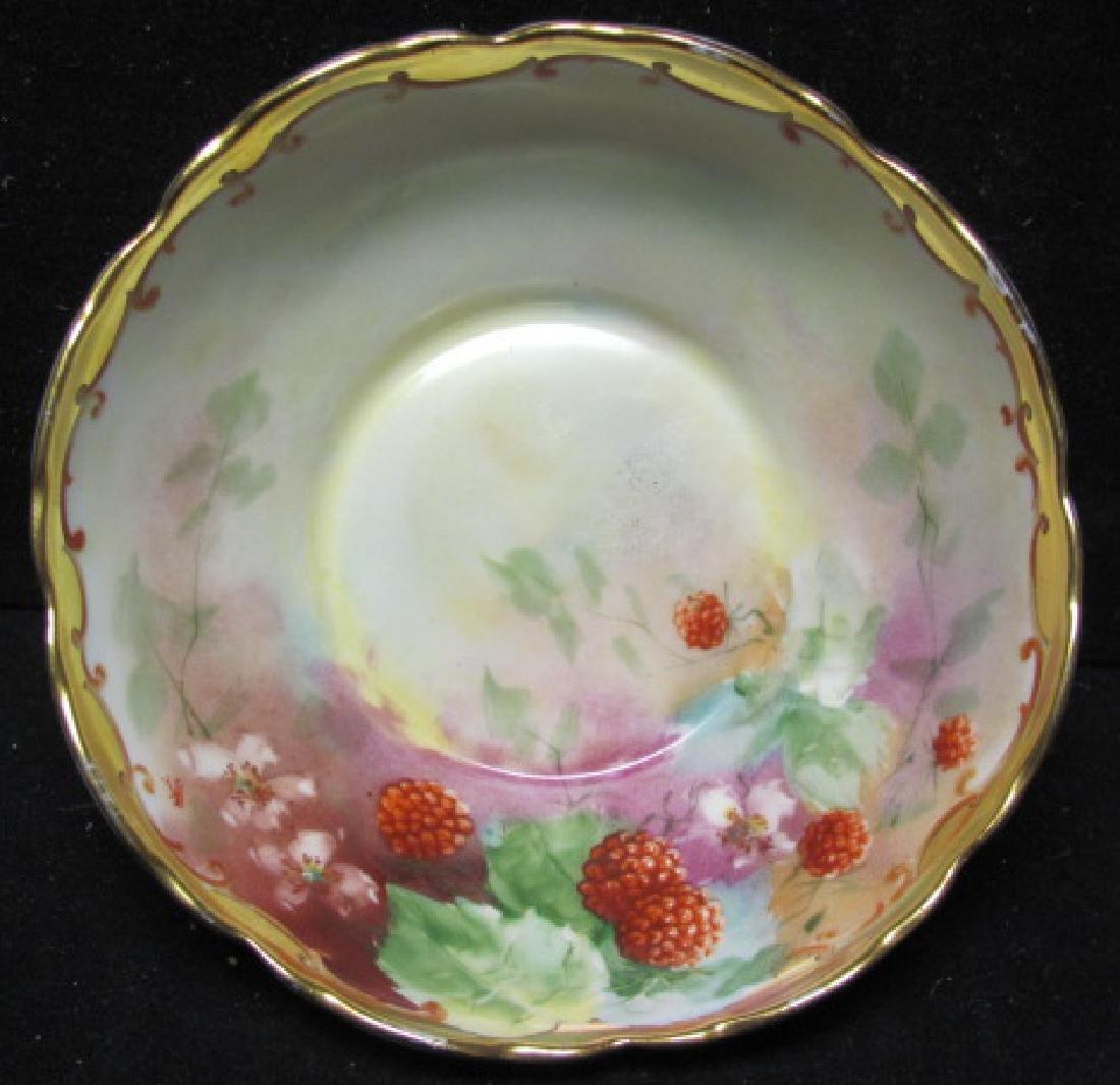 Handpainted Bowl depicting Rasperries