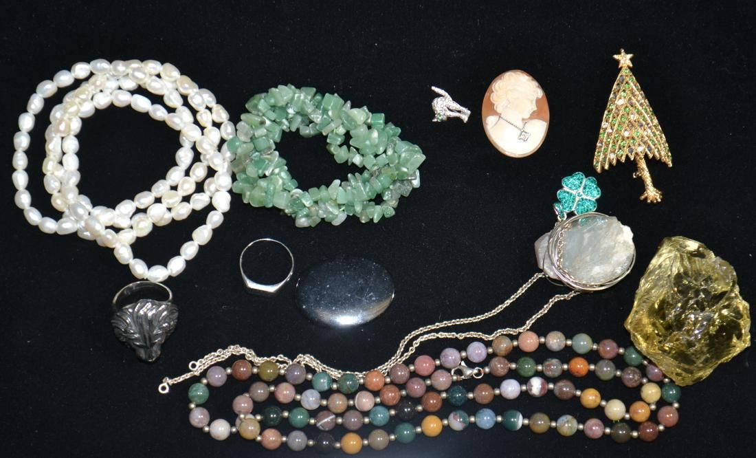 Stone, Sterling Costume Jewelry Grouping