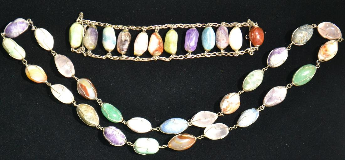 Necklace and Bracelet with Semi-Precious Stones