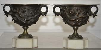 Pair of Art Nouveau Bronze Vases