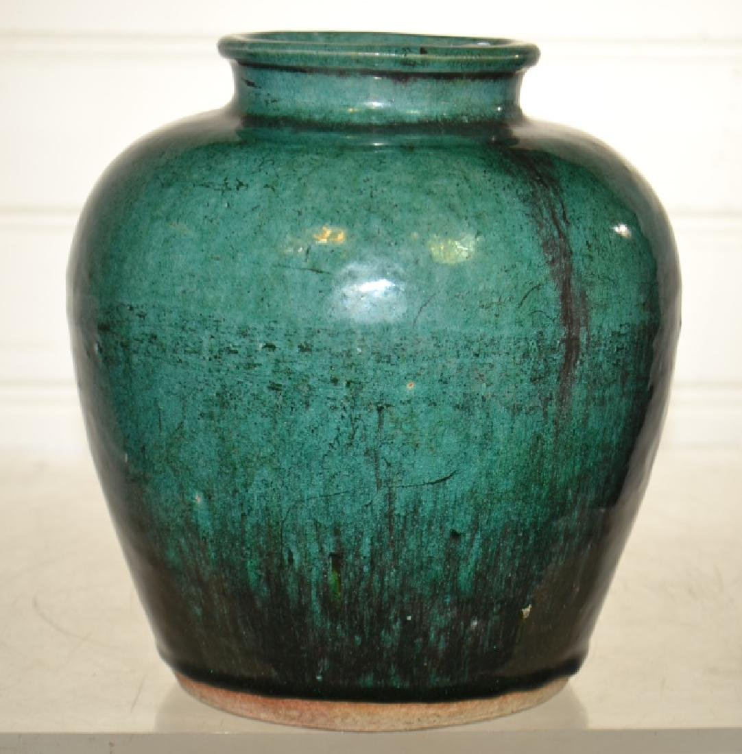 Antique Chinese Green Glaze Ginger Jar - 2