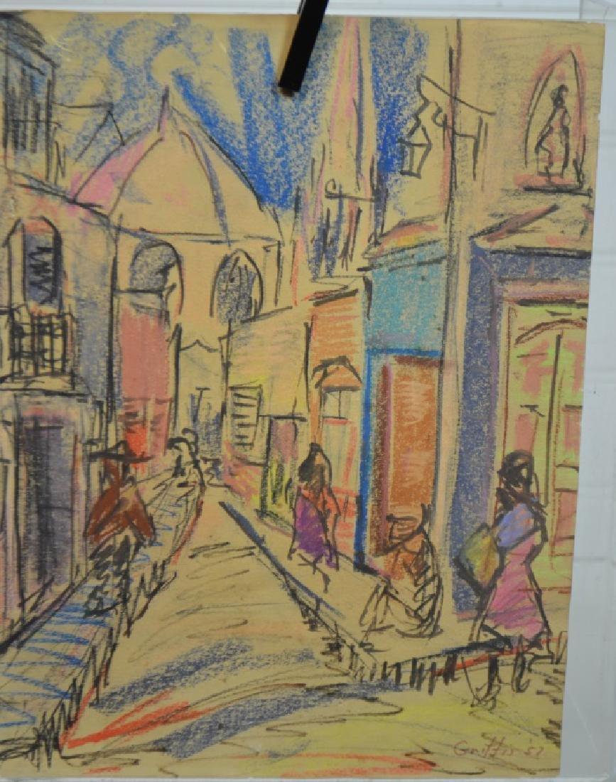 French Street Scene Sketch on Paper