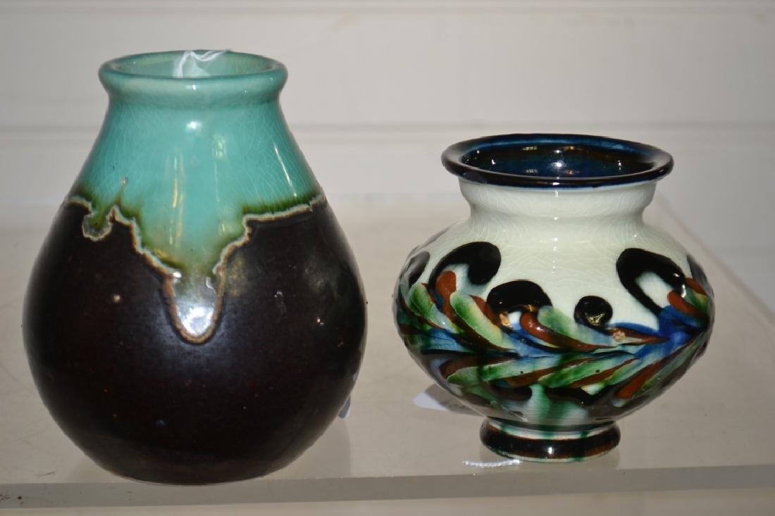Two Multi-Glaze Art Pottery Vases