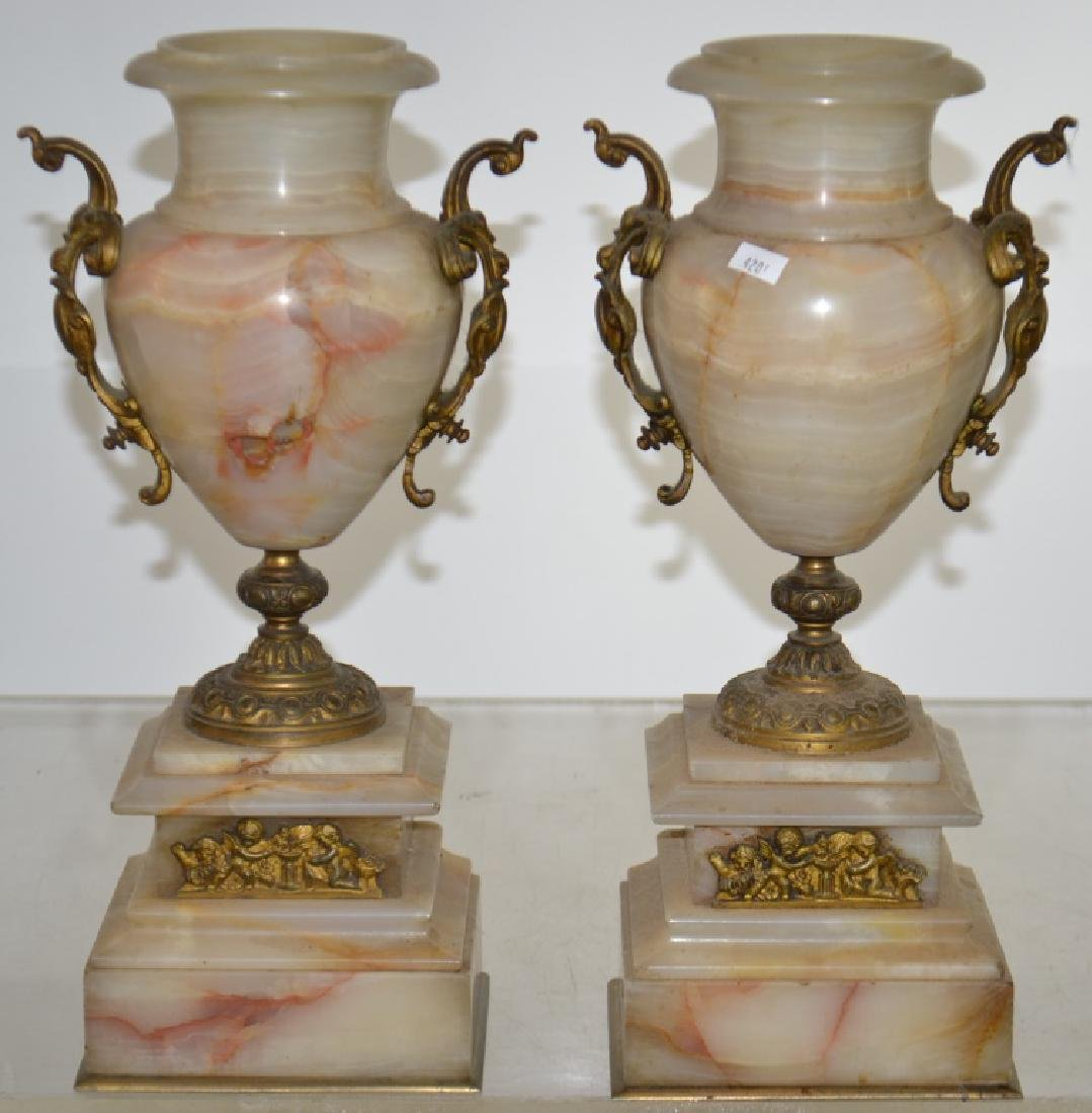 Pair of Marble and Brass Vases