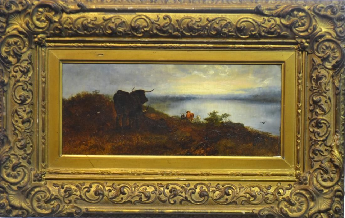 "19th C Oil on Board  ""Bull Greeting the Sun"""