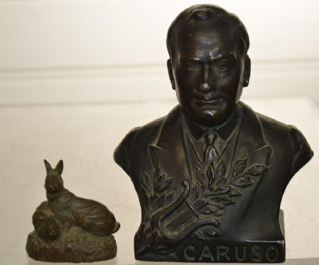 Bust of Caruso and a Bronze Rabbit
