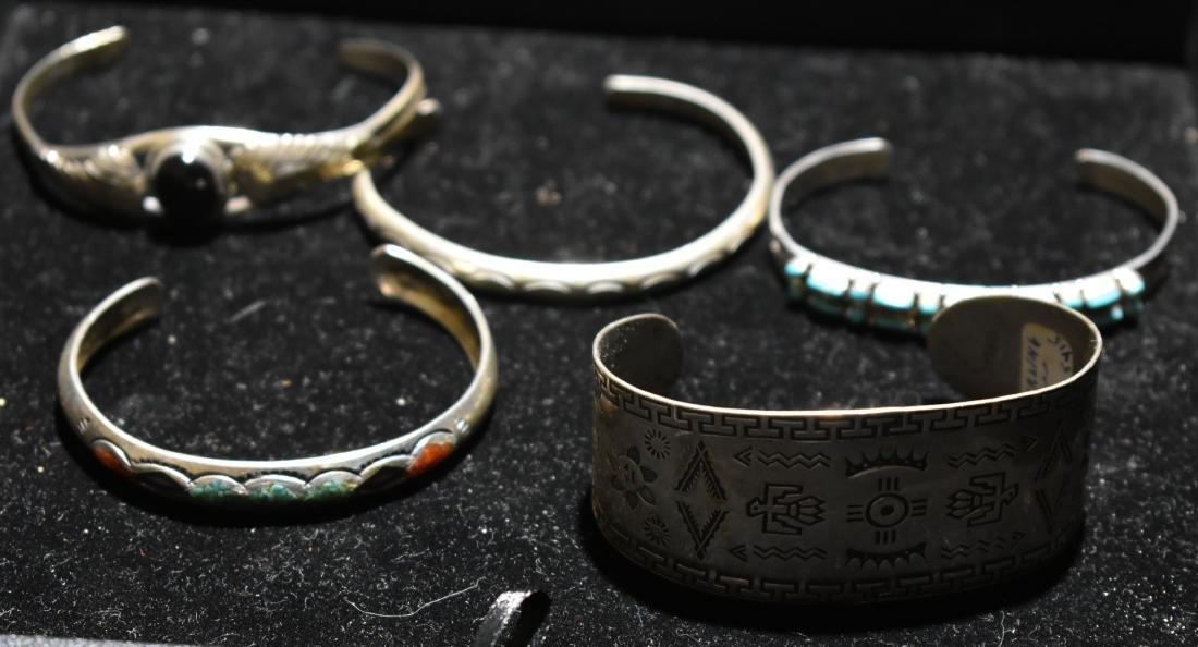 Five Native American Sterling Cuffs