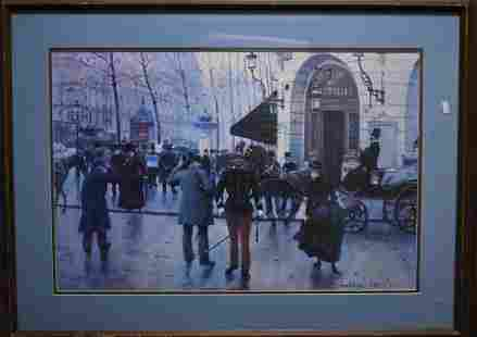 Print of a Paris Scene by Jean Beraud