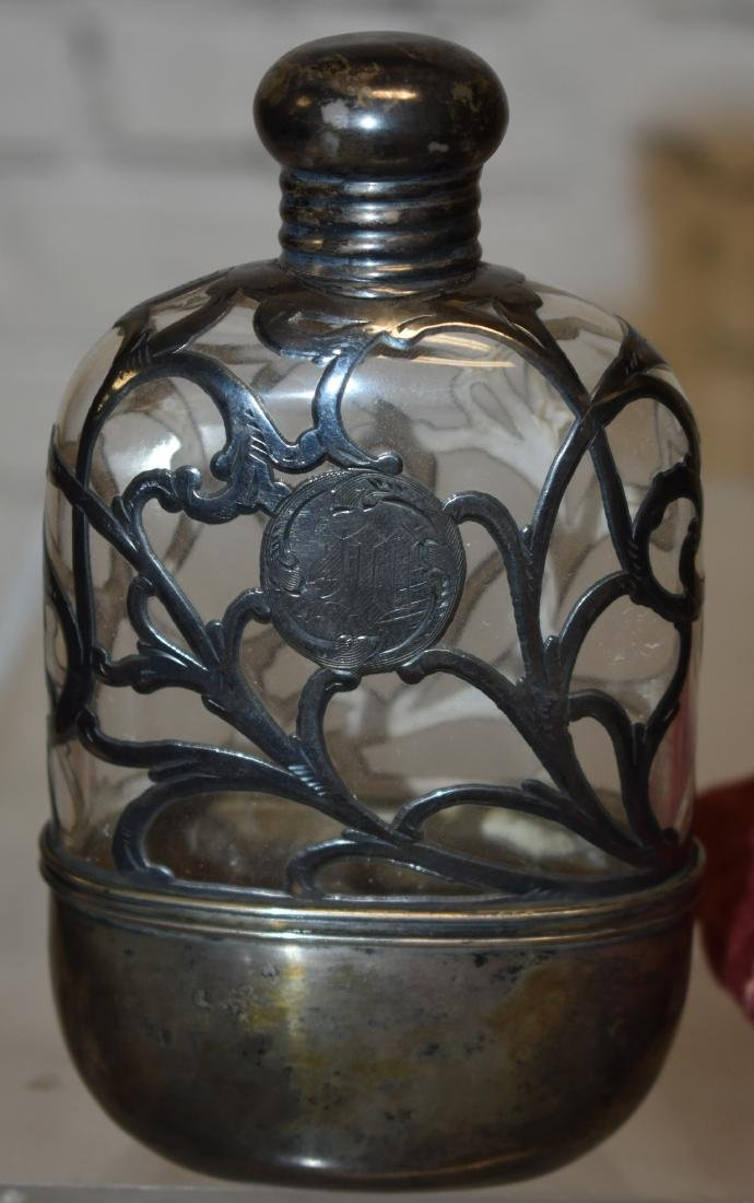Sterling and Glass Flask