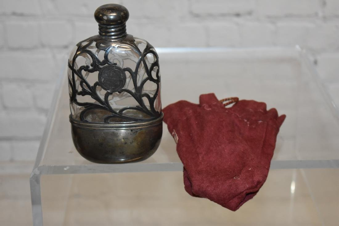 Sterling and Glass Flask - 2