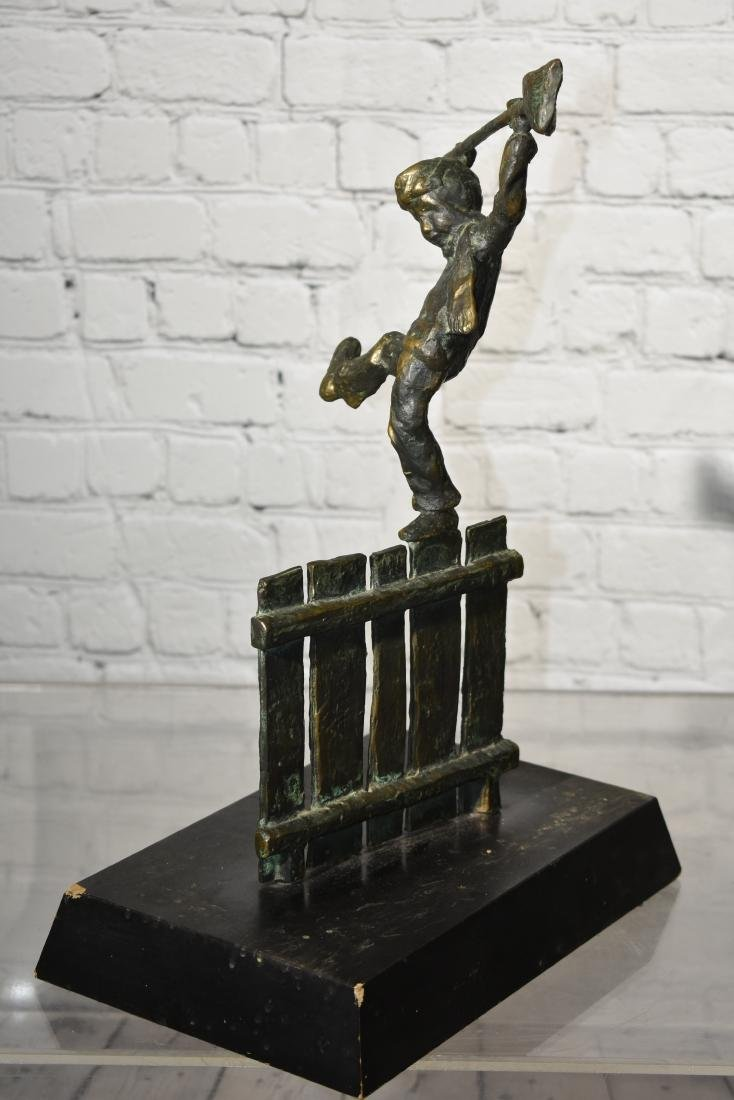 Bronze of a Boy on a Fence - 3