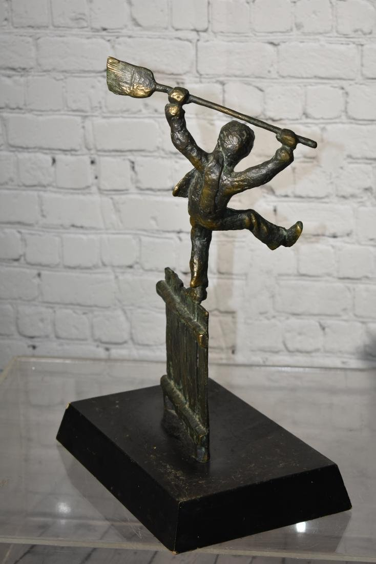 Bronze of a Boy on a Fence - 4