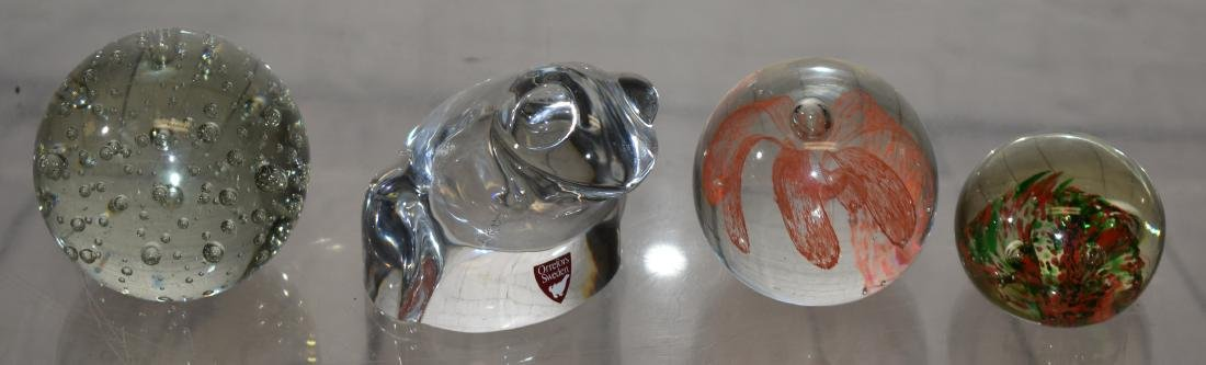 Orrefors Crystal Frog & 3 Other Paperweights