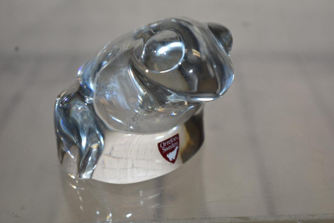 Orrefors Crystal Frog & 3 Other Paperweights - 3