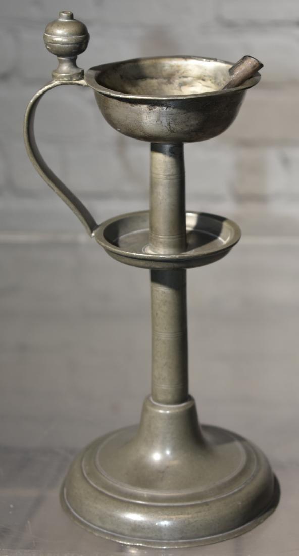 Rare Pewter Oil Lamp