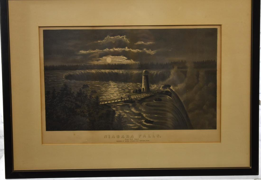 George Stison Print Lithograph of Niagara Falls