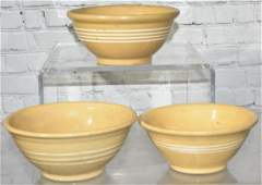 Three 19th Century Yellow Ware Bowls