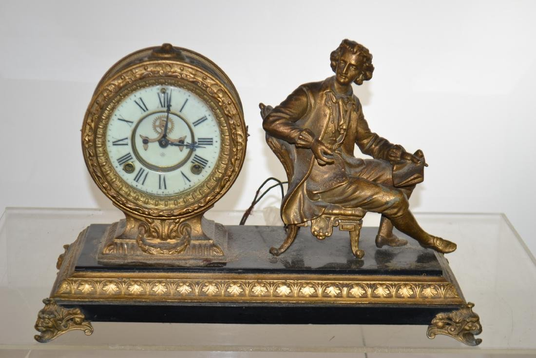 Figural Brass Mantle Clock