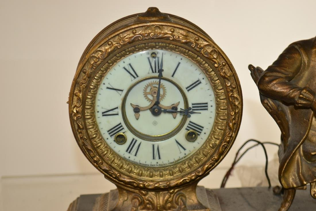 Figural Brass Mantle Clock - 2
