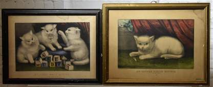 Two Currier and Ives White Kitten Lithographs