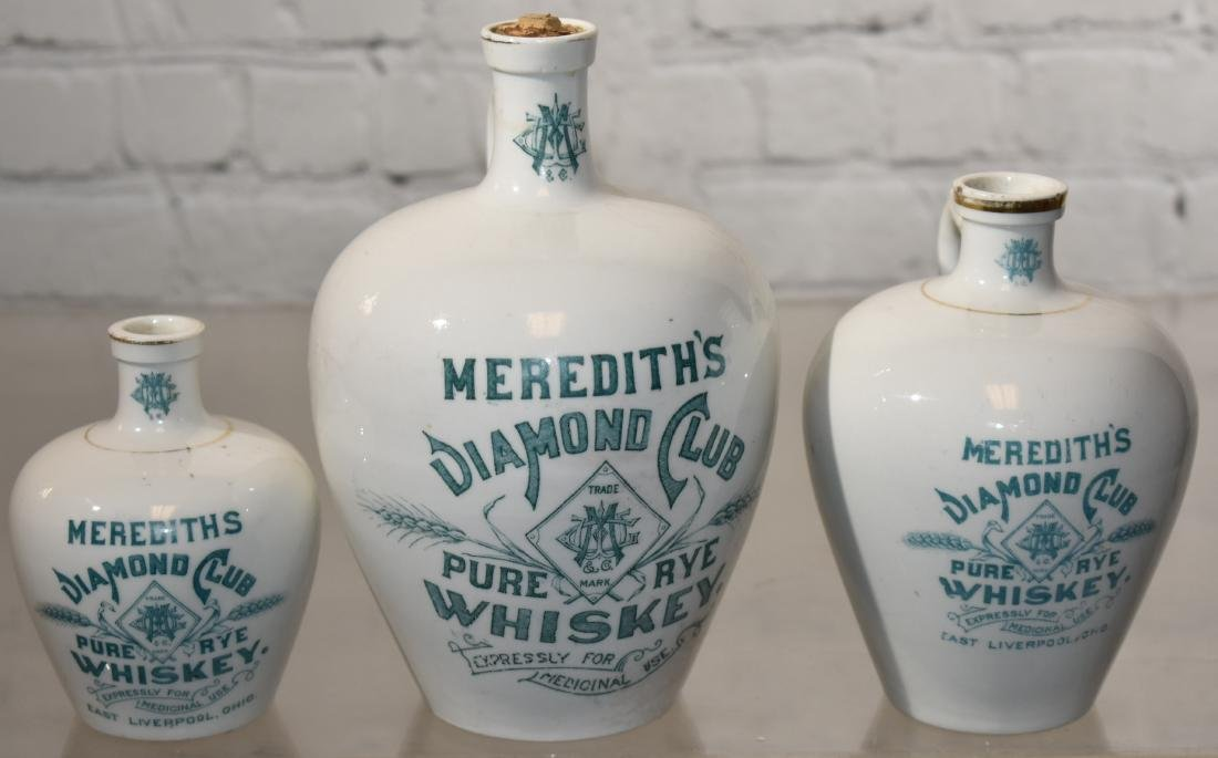 Graduated Meredith's Diamond Club Whiskey Jugs