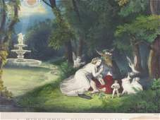 Currier  Ives Litho A Mid Summers Night Dream