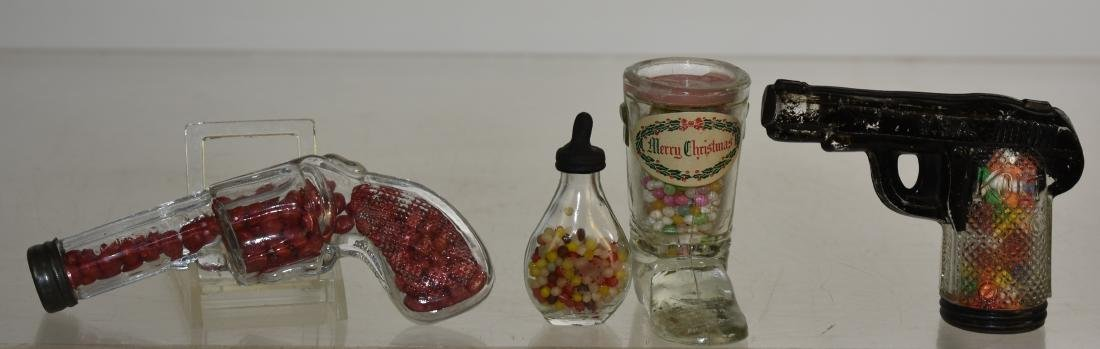 Four Vintage Candy Containers with Candy