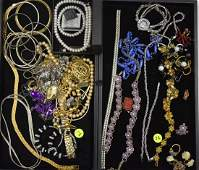 Two Trays of Vintage Costume Jewelry